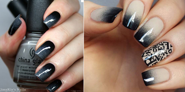 Black dark ombre nails