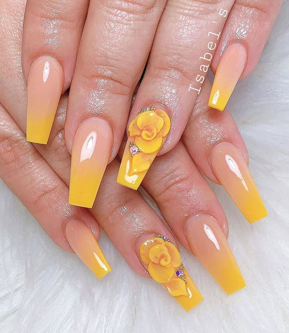 Sunshine ombre nails